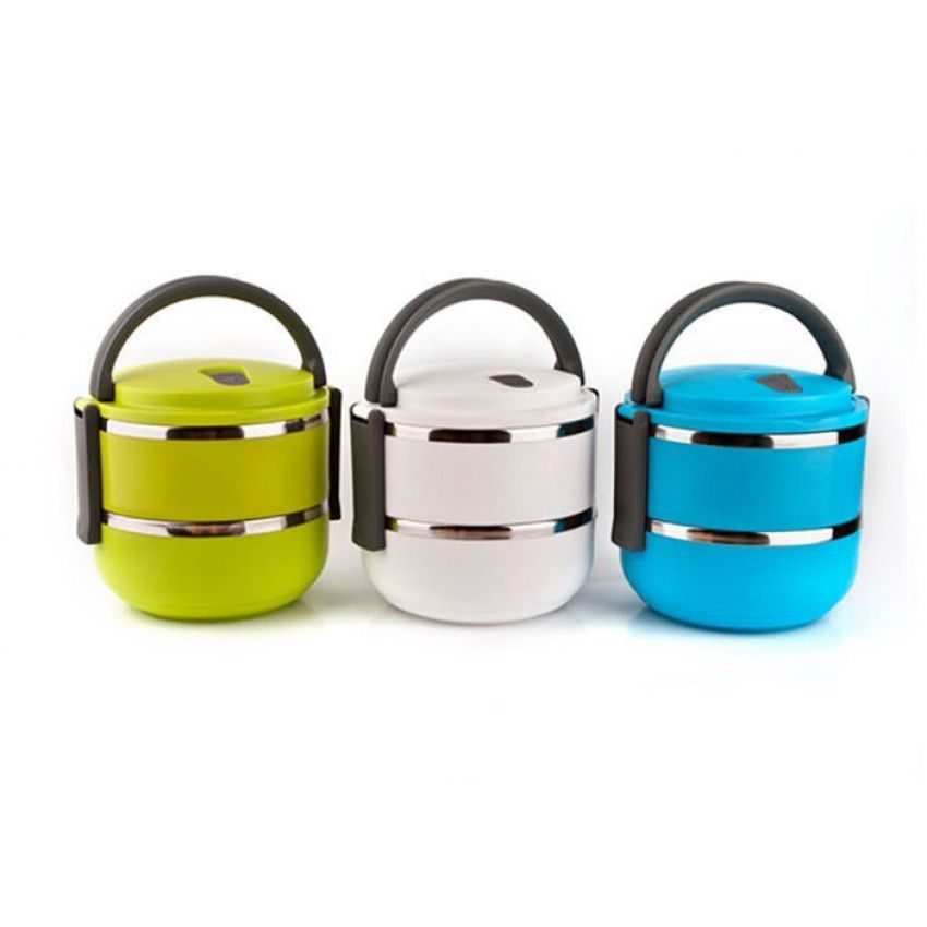 Homeo Double Layer Stainless Steel Round Lunch Box
