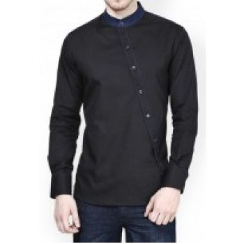 Apparel Black Cross Button Style Designer Shirt Co