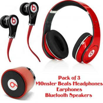 Pack of 3 Monster Beats by Dr  Dre Studio