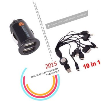 Car Adaptor + 10 in 1 Data Cables