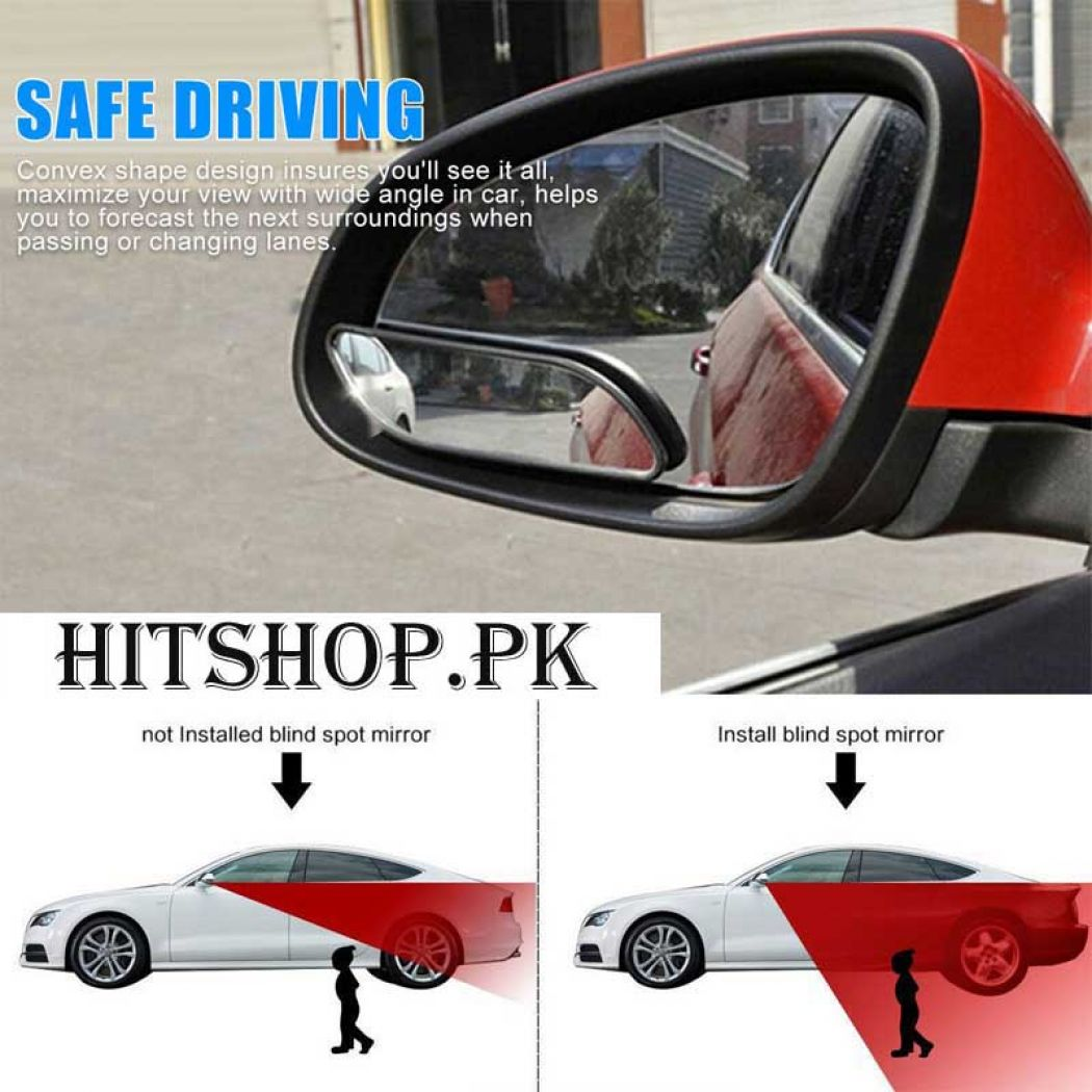 2 Pcs Car Wide Angle Convex Rear Side View Blind S