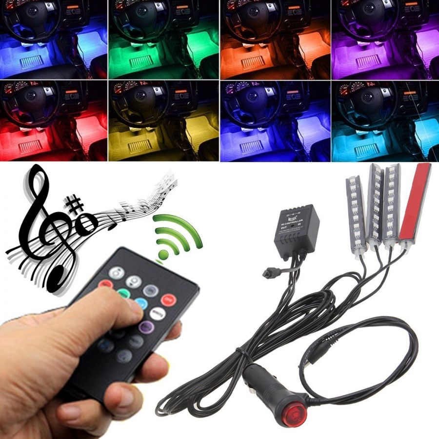 Car Interior Atmosphere Remote Control Light Decor Lamp