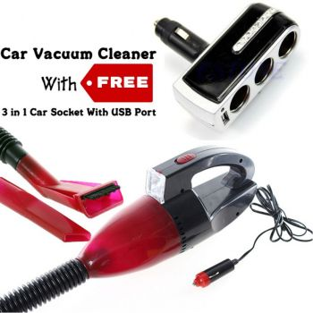 High Power Car Vacuum Cleaner Red with Free 3 in 1