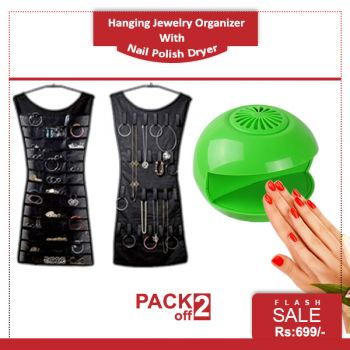 Pack of 2 Hanging Jewelry Organizer And Nail Polis