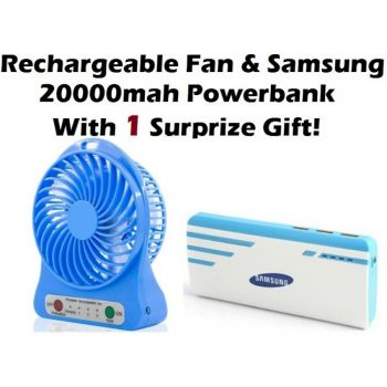 Rechargeable Portable Fan with Samsung 20000mah Po
