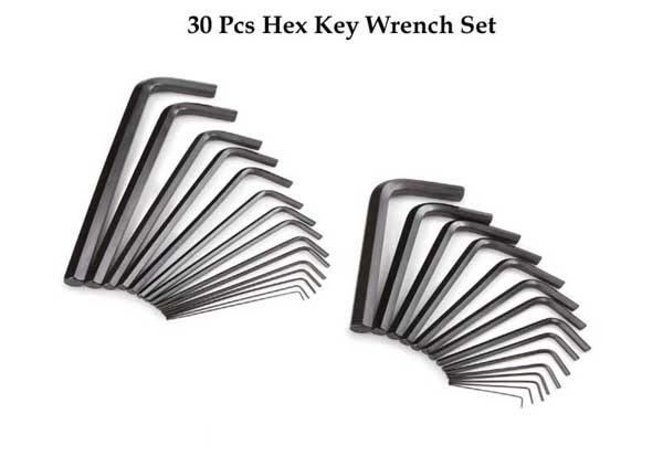 30 Pcs Hex Key Wrench Set
