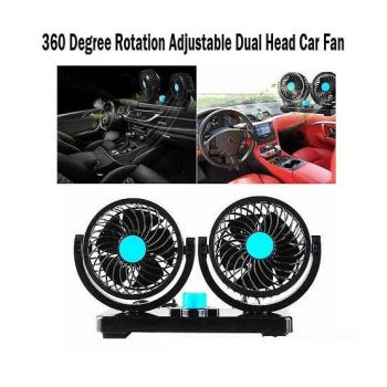 360 Degree Rotation Adjustable Dual Head Car Fan