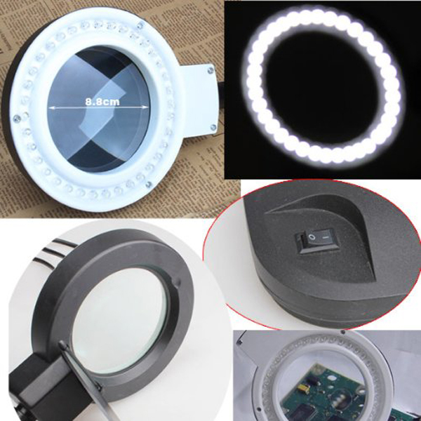 Desktop Magnifying Glass With Light Table Lamp