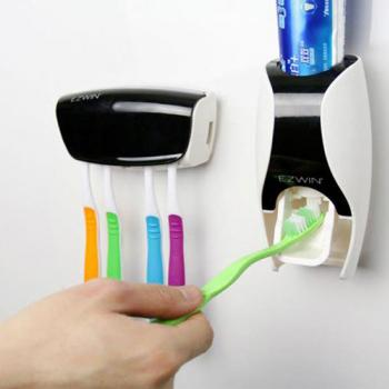 1 TOOTHPASTE DISPENSER WITH TOOTHBRUSH HOLDER