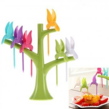 Fruit Forks Tree Shaped Stand With Toothpick