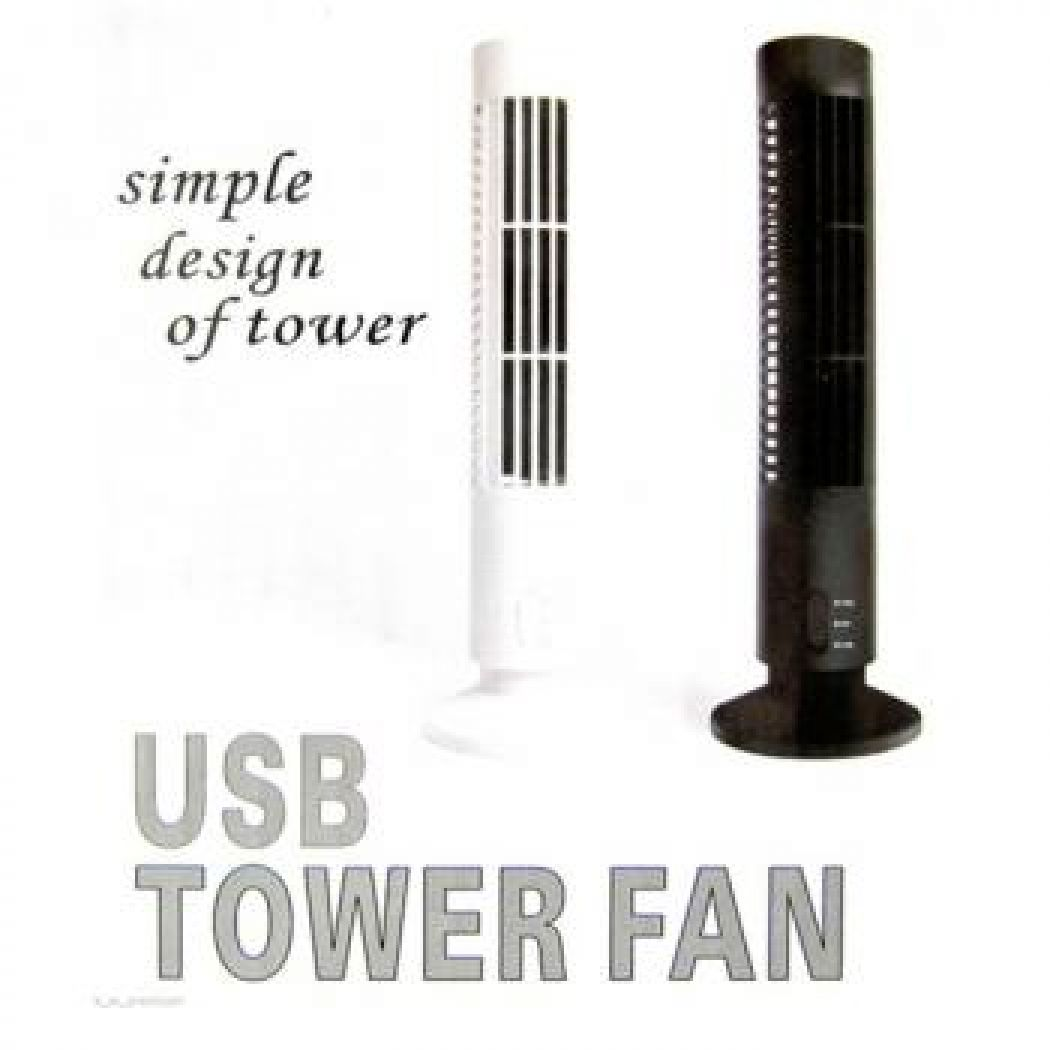 Usb Tower Fan - White Or Black