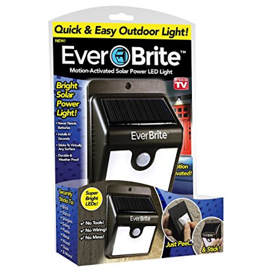 Ever Brite Motion Activated LED Solar Light Black