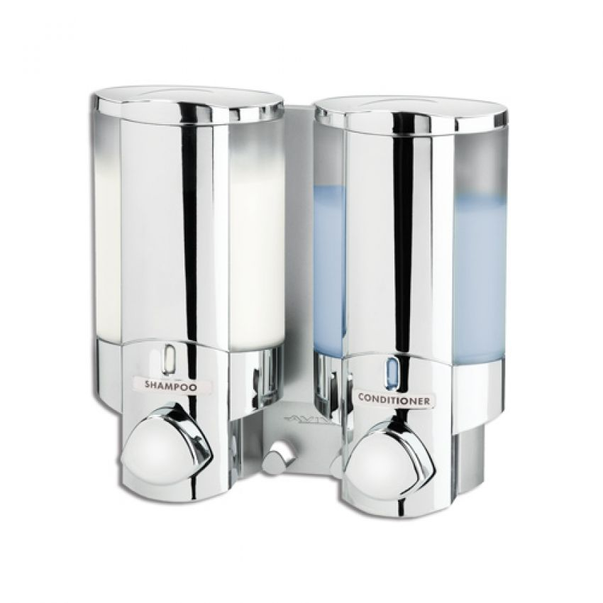 Double soap sanitizer liquid dispenser lotion pump wall for Liquid soap dispenser for bathroom