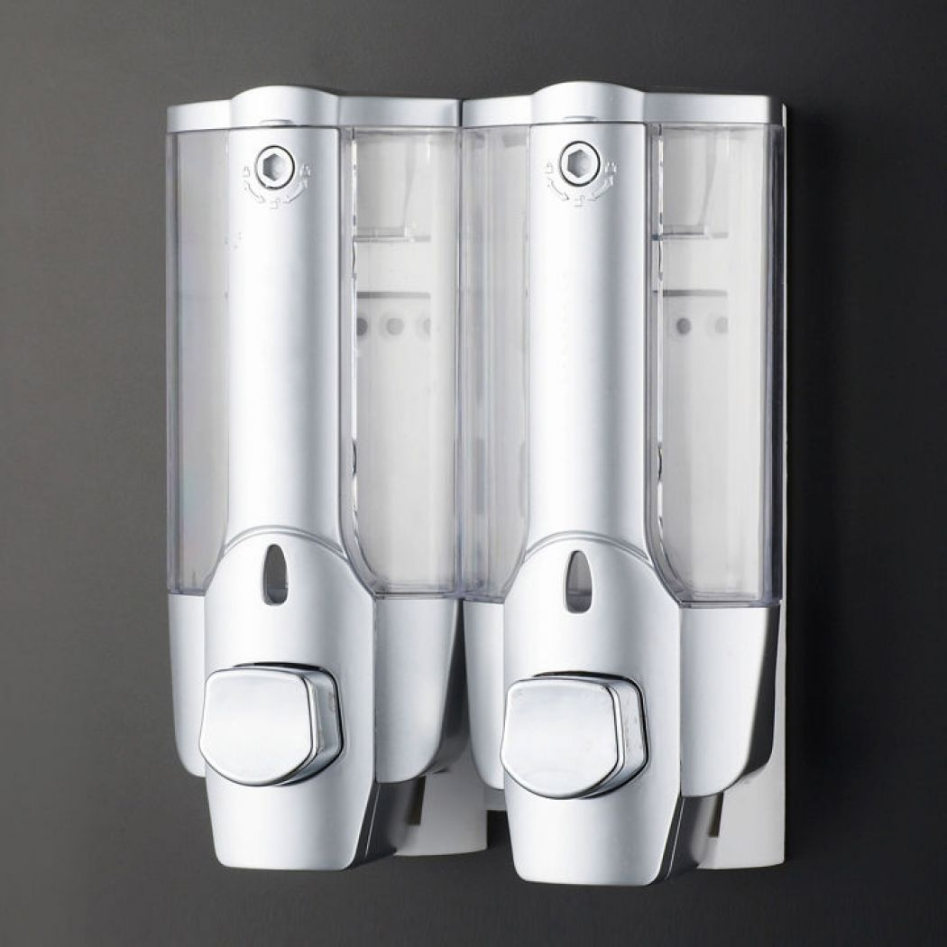 Double Soap Sanitizer Liquid Dispenser Lotion Pump Wall Mounted Bathroom