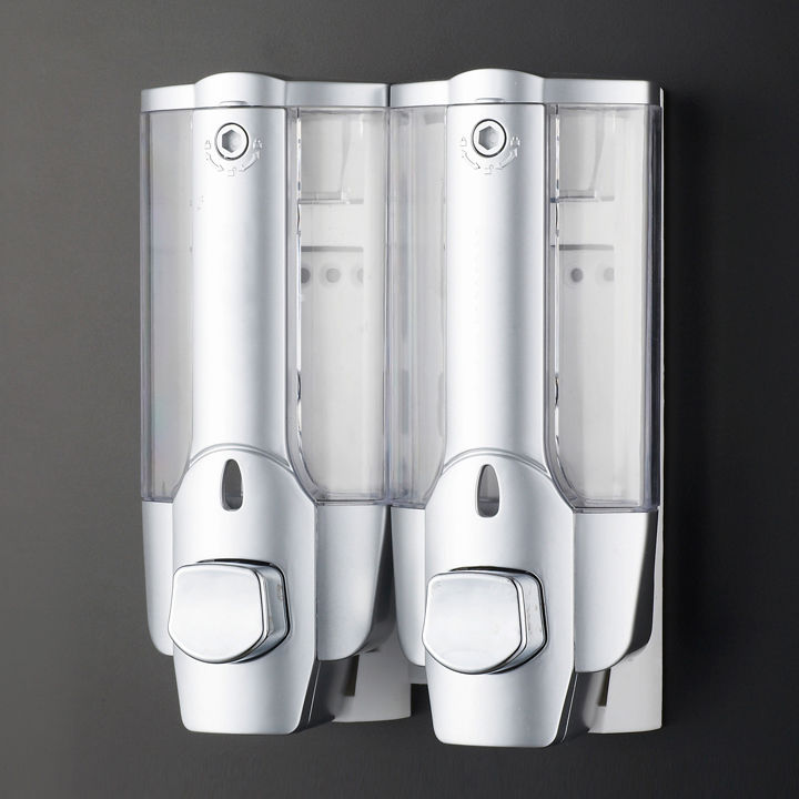2 Pump Action Wall Mounted Soap Shampoo Dispenser