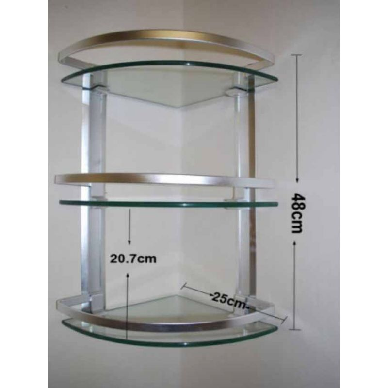 3 Layer Corner Glass Shelves for Bathroom in Pakistan