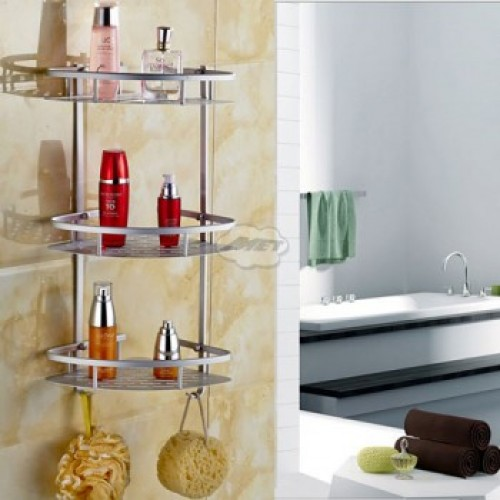 3 Layer Triangular Shower Caddy Shelf Bathroom Cor