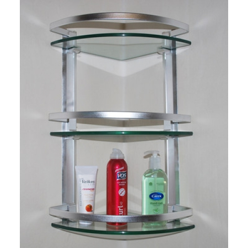 3 Layer Corner Glass Shelves for Bathroom in Pakis
