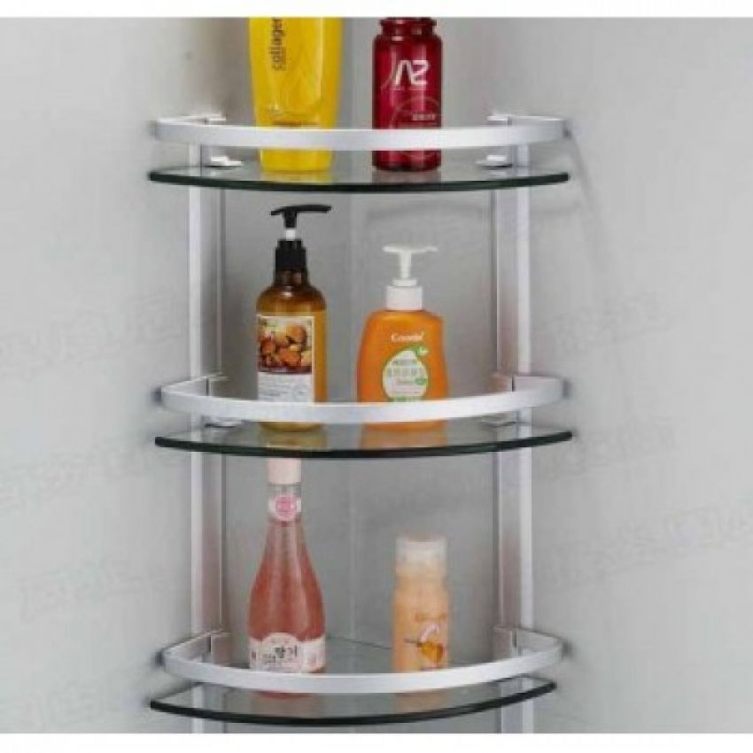 bathroom accessories 3 layer corner glass shelves for bathroo