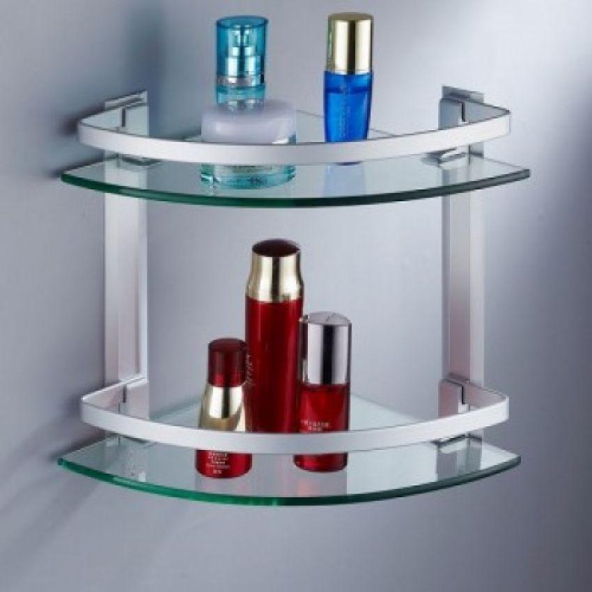 Bathroom Accessories In Pakistan. Double Layer Glass Shelf Corner Shelf In Pakistan