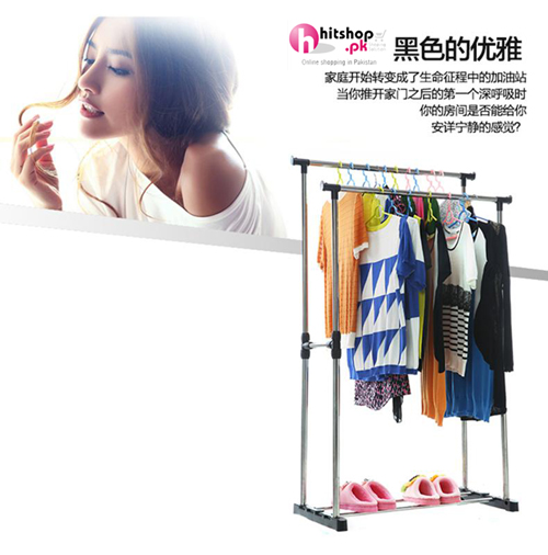 Multifunctional Double Pole Stainless Steel Drying Clothes Rack