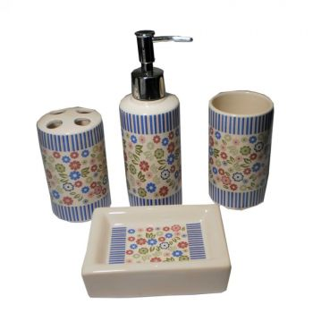 4 Pcs Ceramic Bathroom Set Elegant Design