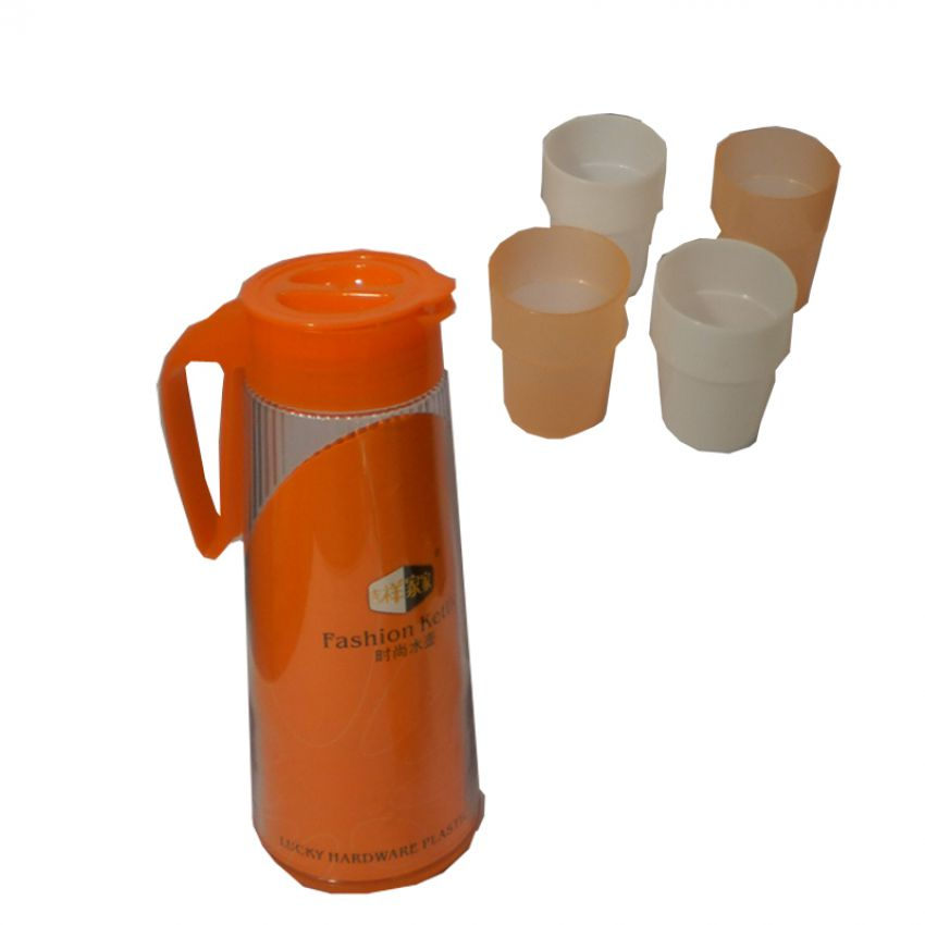 Water Set High Quality Plastic Jug 4 Glasses Fashi