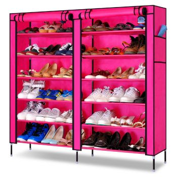 Double Door Shoe Rack 12 Layers With Zipped Doors