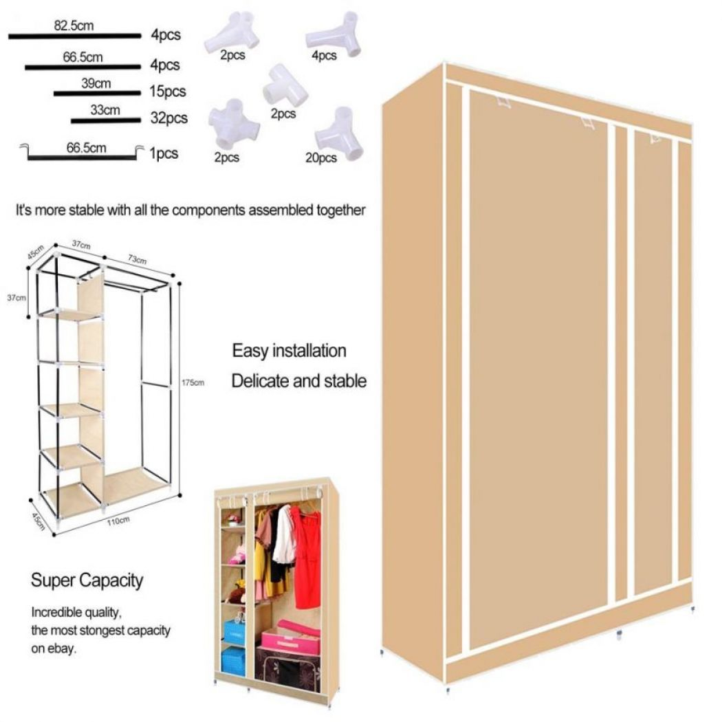 Foldable Storage Wardrobe with Protective Cover