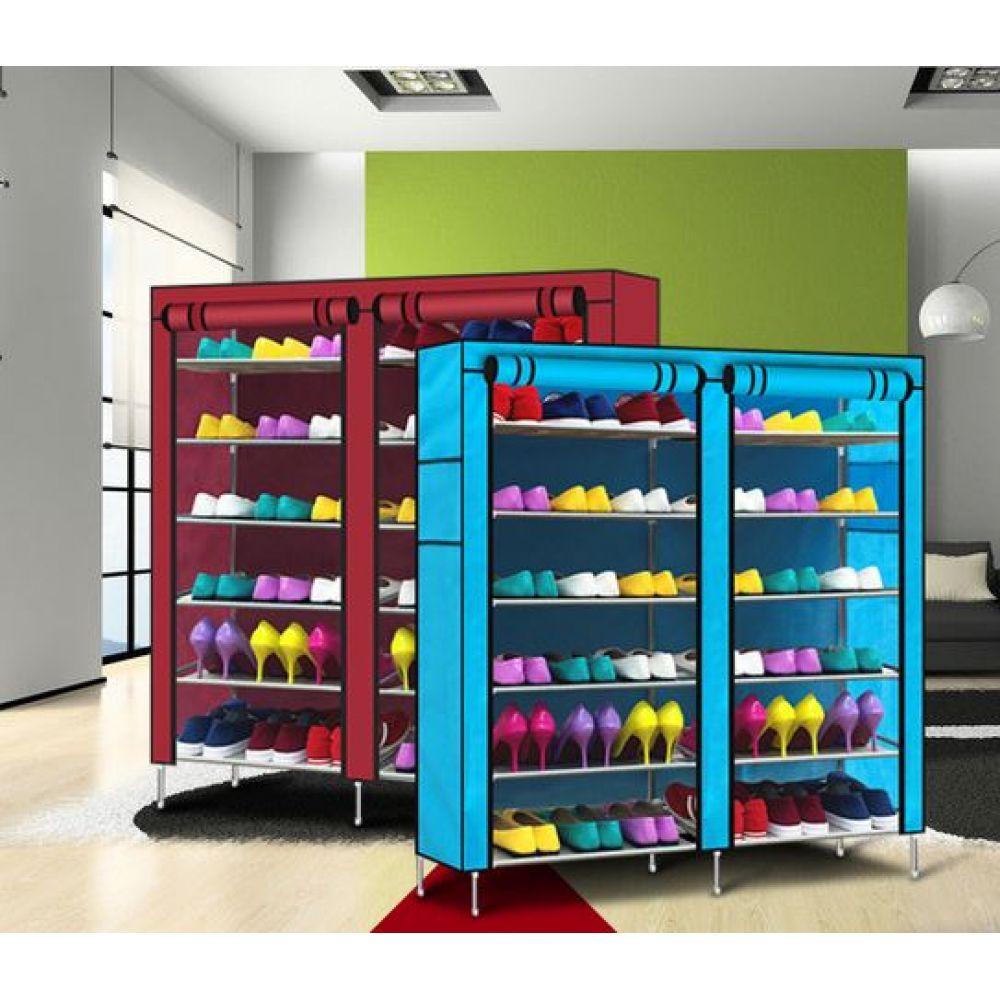 Double Door Shoe Rack 12 Layers With Zipped Doors Covered Shoe Rack