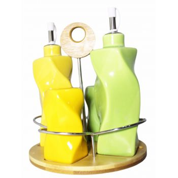 Set Of 4 Ceramic bottles with Wooden Base  Green -