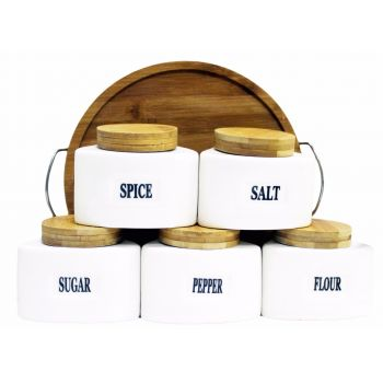 Set Of 5 Ceramic Canister with Bamboo Base JC6661