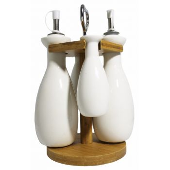 Set Of 5 Ceramic bottles with Wooden Base