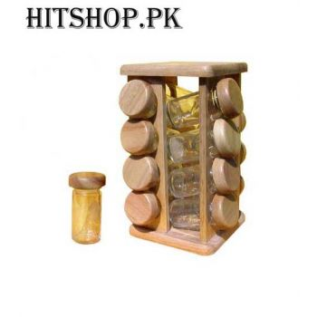 16 Revolving Wooden Masala Jar With Stand