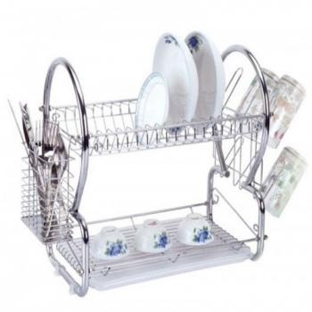2 Layer Dish Drainer Stainless Steel Bowl Rack