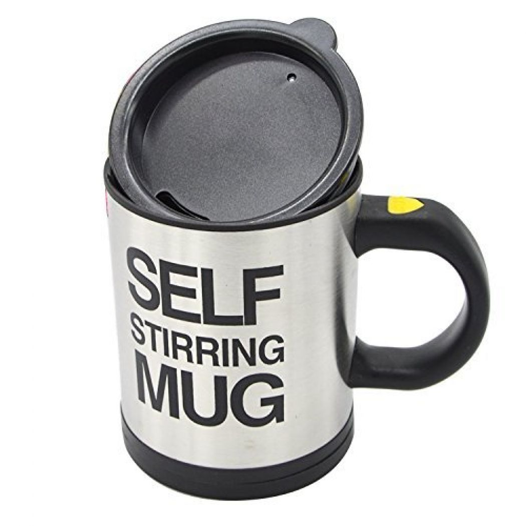 Useful Stainless Steel Self Stirring Coffee Mug