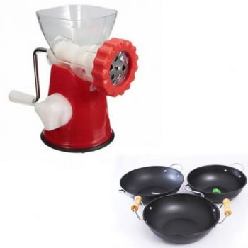 Deal Of Meat Mincer Red With 3 Non-Stick Karahi