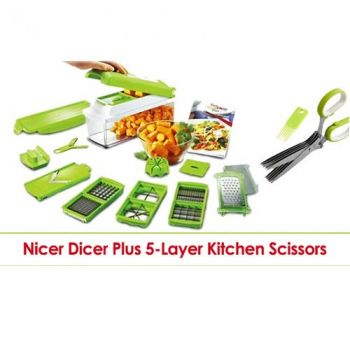 Genius Nicer Dicer And 5-Layer Kitchen Scissors