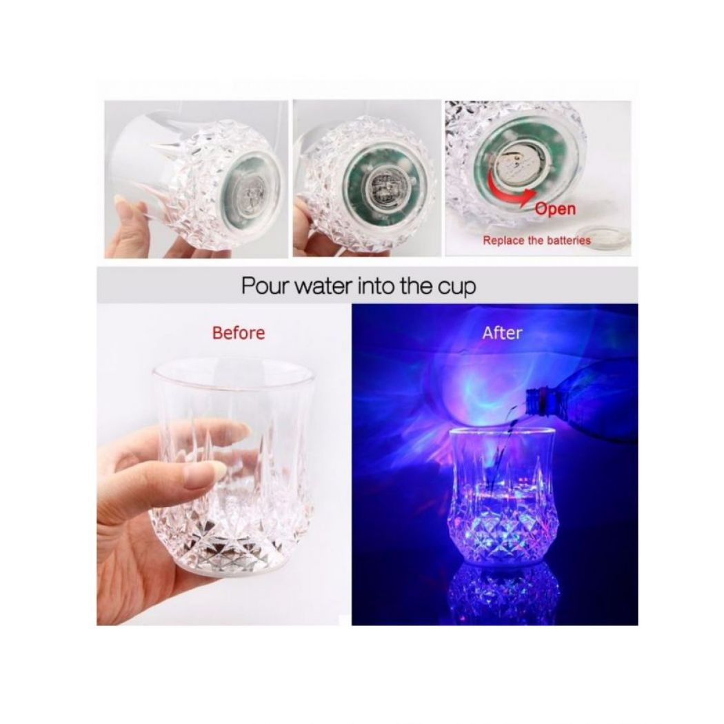 Water Activated LED Light-Up Flashing Rocks Glass
