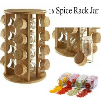 Wooden Jars Spice Organized Set of 16 Spice Jars w