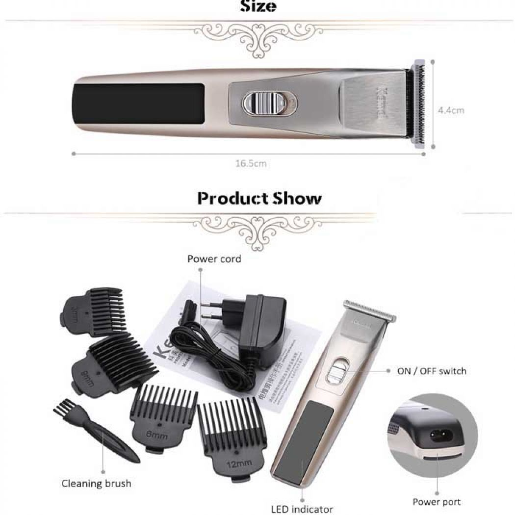 Kemei Rechargeable Hair Clipper Trimmer Shaver Raz