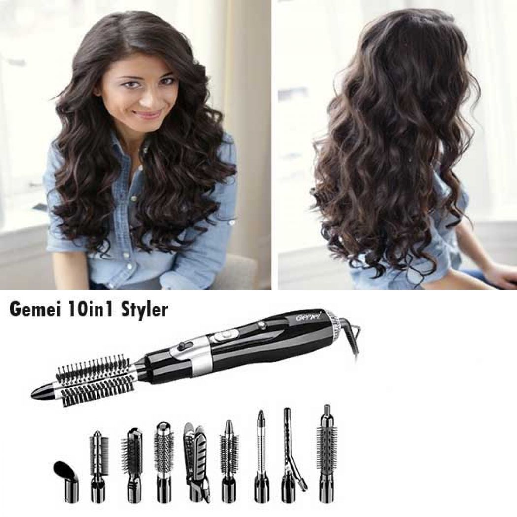 Gemei 10in1 Professional Multi Hair Styler Rotatin
