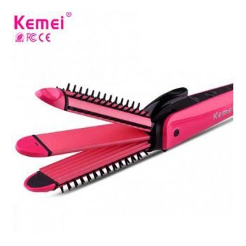 Kemei 3 In 1 Electric Hair Curler And Straightener