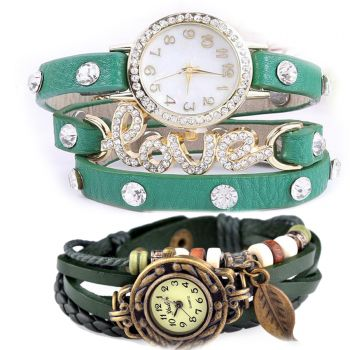 Pack Of 2 fashion Vintage Style Watchs Leather Bra