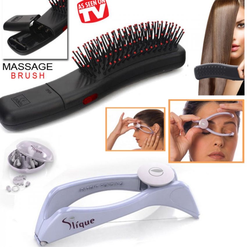 1 Combo 2 Slique Hair Threading Hair Removal   Battery Operated Massaging Hair Brush In Pakistan