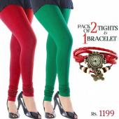 Pack Of 2 Tights & 1 Bracelet Watch