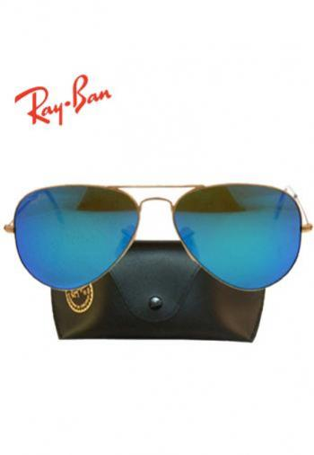 RAYBAN AVIATOR GOLD FRAME/BLUE MIRROR LENS SUNGLASSES (BOX & POUCH)