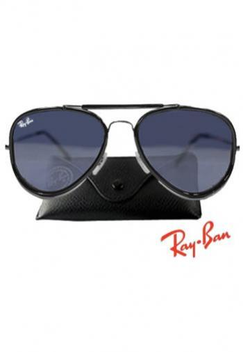 RAYBAN ROAD SPIRIT BLACK FRAME/BLUE LENS SUNGLASSES (BOX & POUCH)