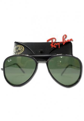 RAYBAN ROAD SPIRIT BLACK FRAME/GREEN LENS SUNGLASSES (BOX & POUCH)