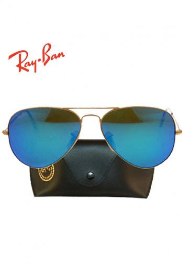 ed5649a1b9e RAYBAN AVIATOR GOLD FRAME BLUE MIRROR LENS SUNGLASSES (BOX   POUCH) in  Pakistan